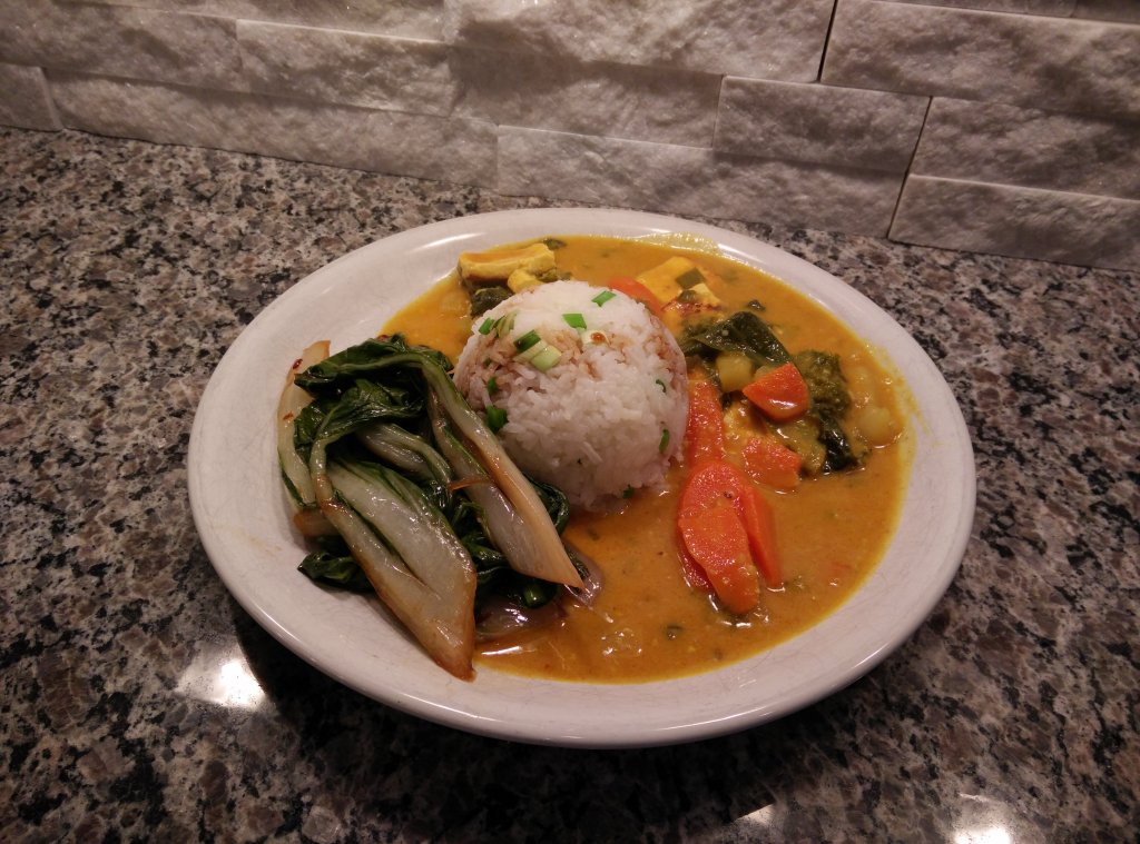 curry with bok choy